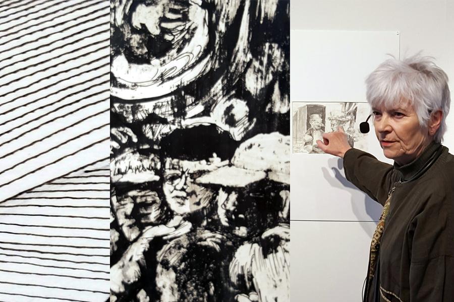 I mitten en detalj ur en av Berit Fraderas tre teckningar i utställningen.
